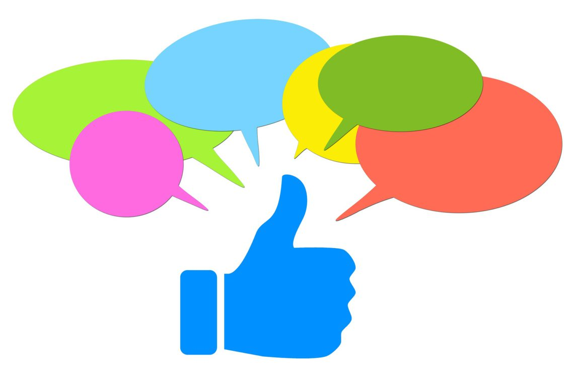 multiple speech bubbles pointing to a thumbs-up