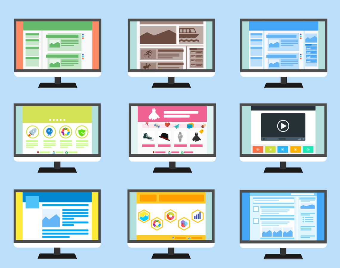 Illustration of multiple computer screens showing different media.