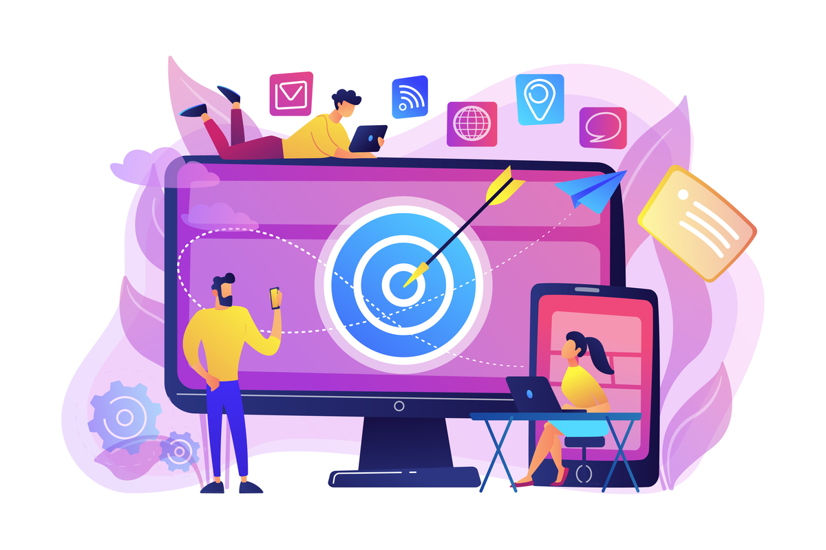 Illustration of people sitting around and on a computer monitor with a bullseye on it.