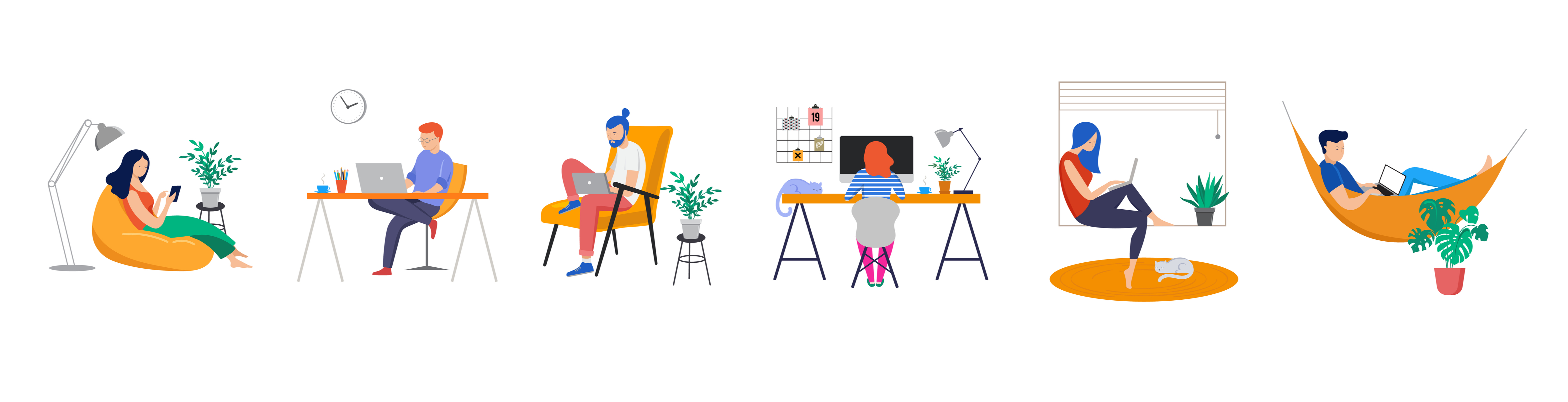 Illustration of multiple pople sitting with their phones and computers.
