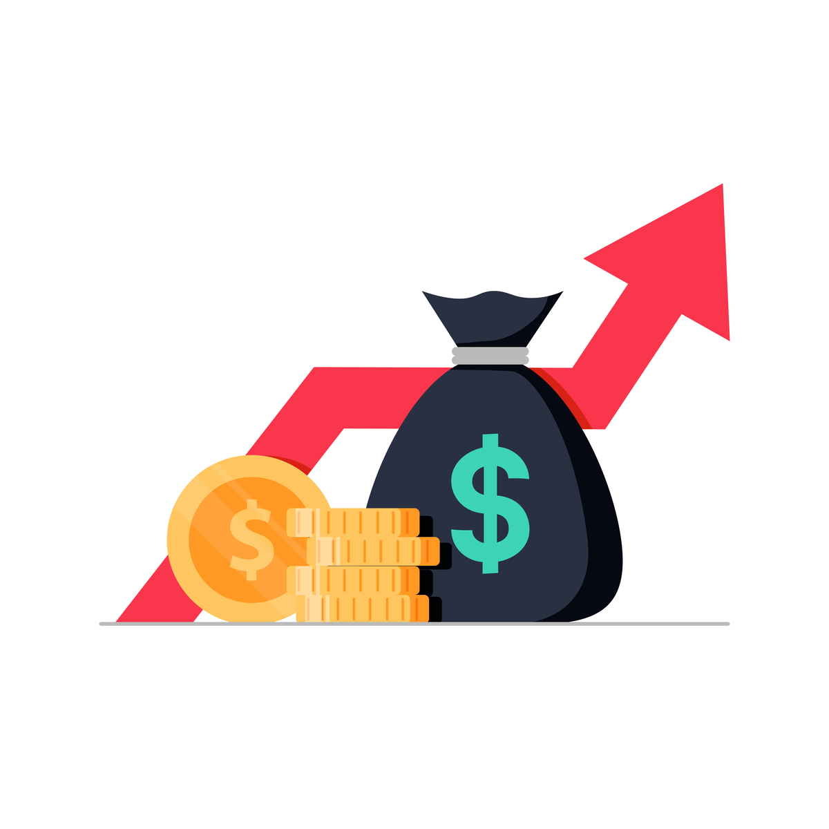 Illustration of a bag of money in front of an upward-facing arrow.