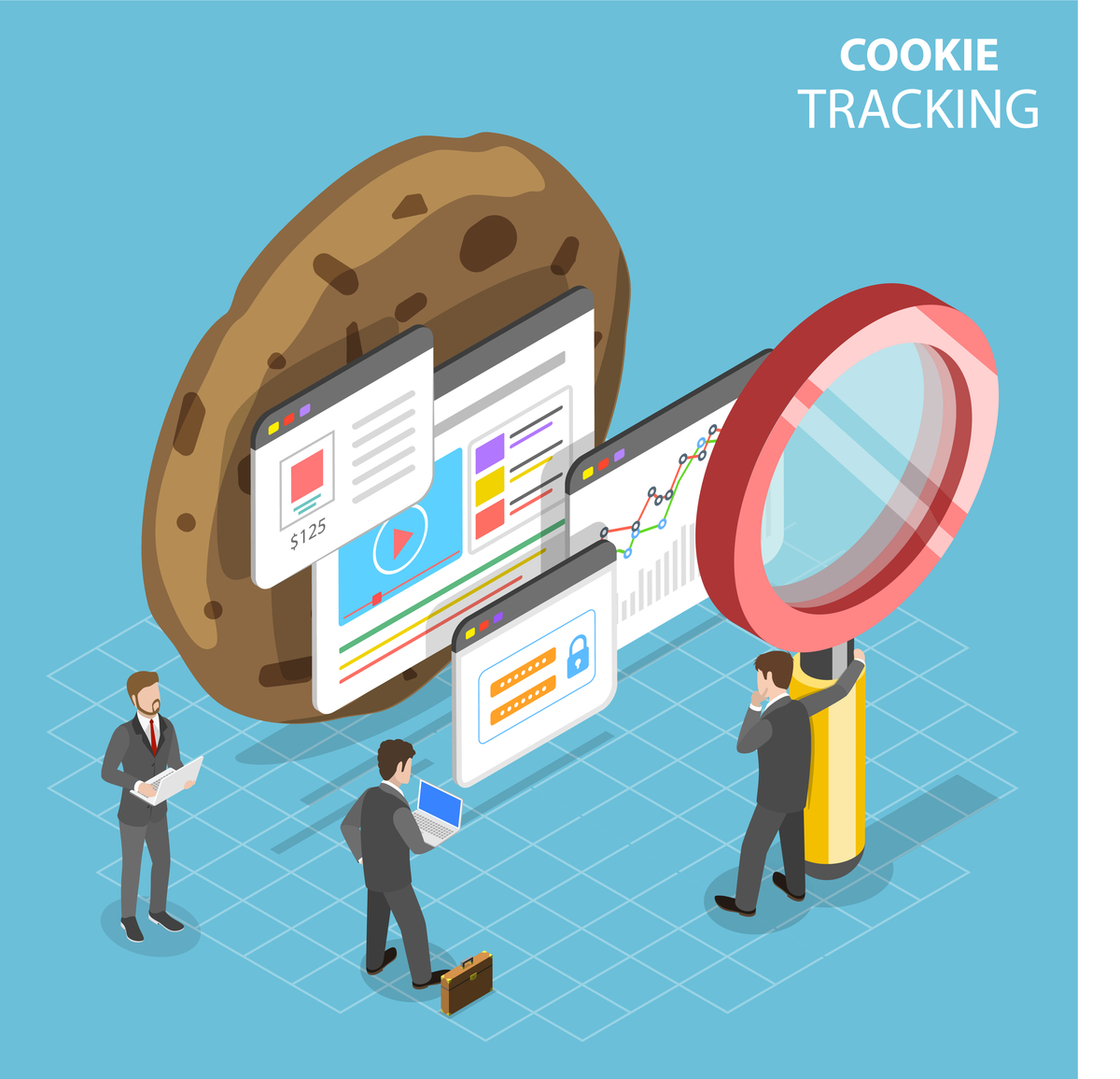 Illustration of people in suits looking at screens with a cookie behind them.