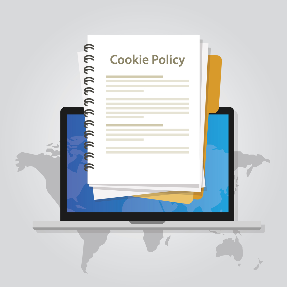 Illustration of a document with the title ''Cookie Policy''.
