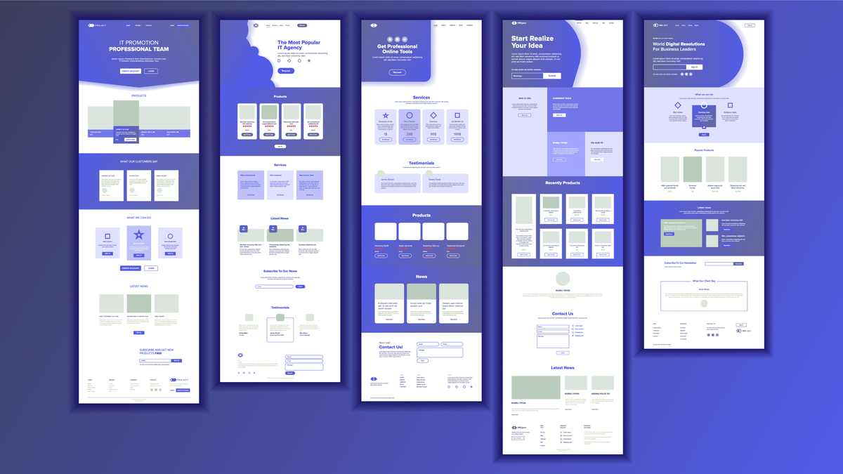 Illustration of different landing pages