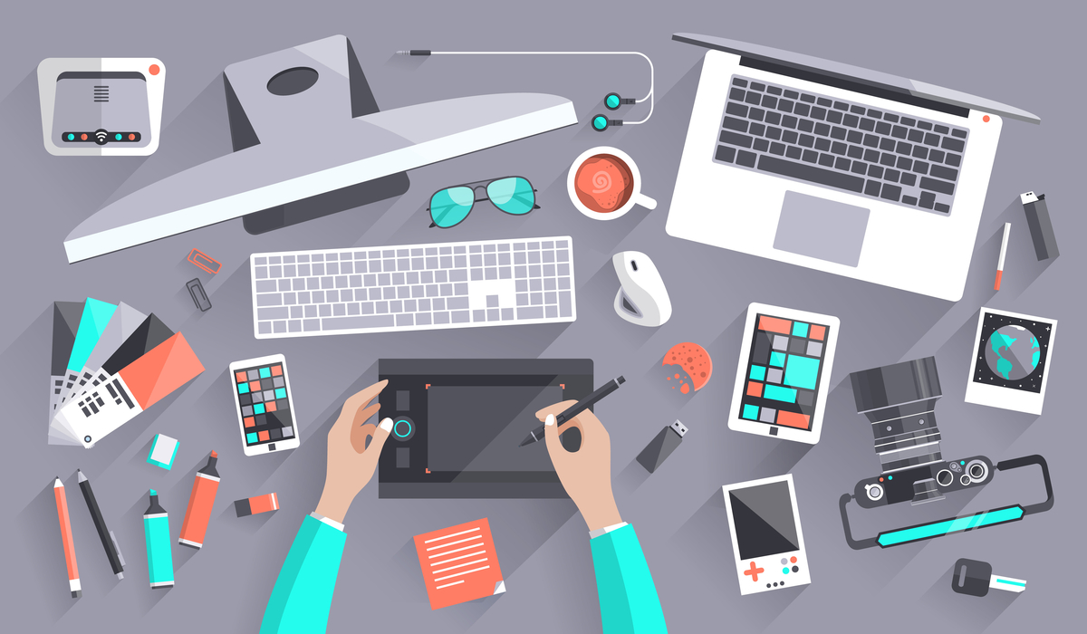 lllustration of different tools for marketing.