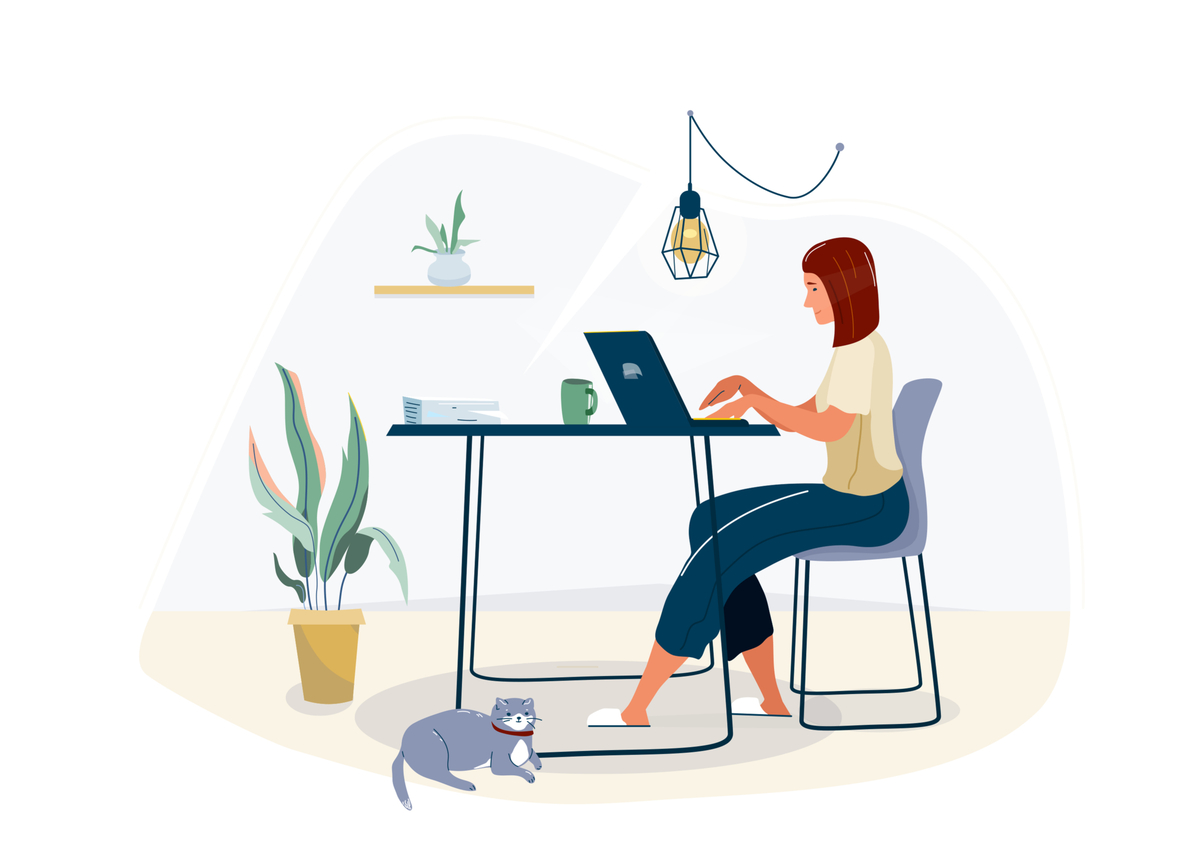 Illustration of a woman working on a computer in her home.