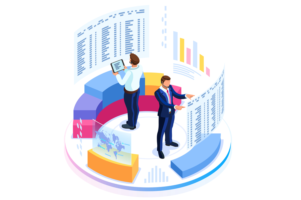 Illustration of two people observing large amounts of data.