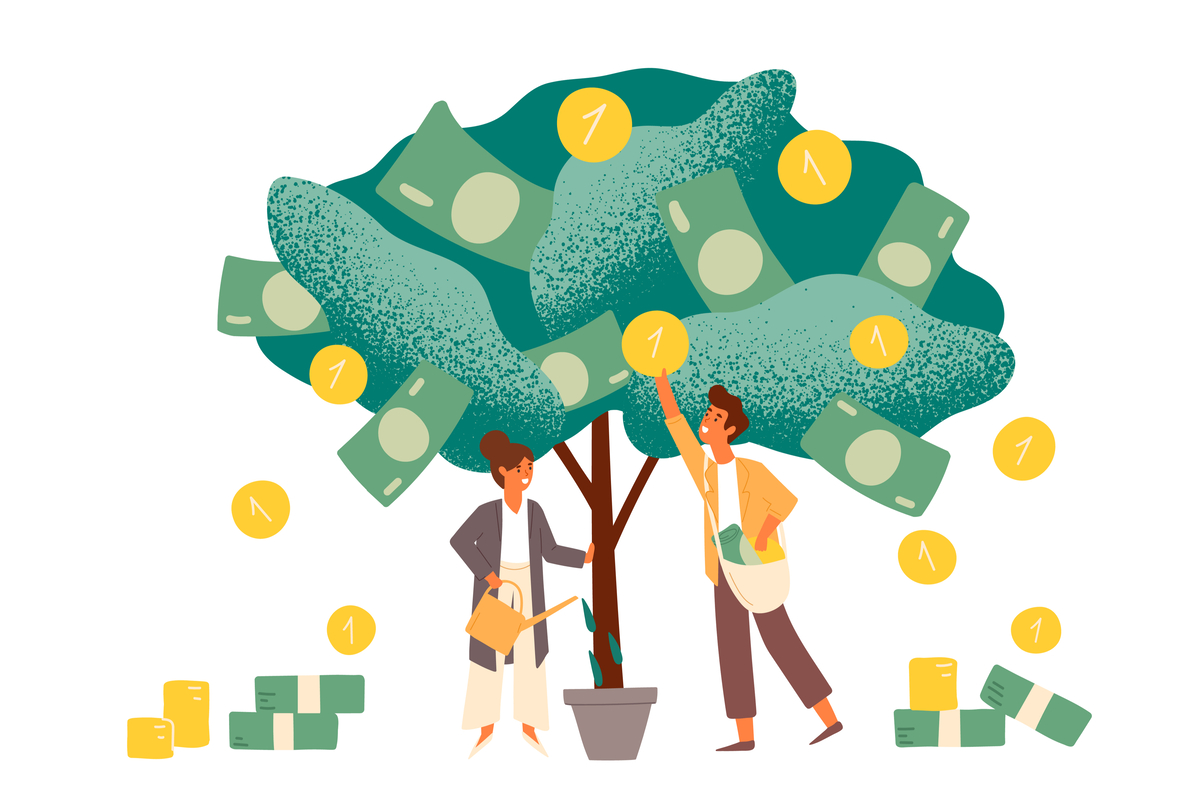 Illustration of two people picking money from a tree.