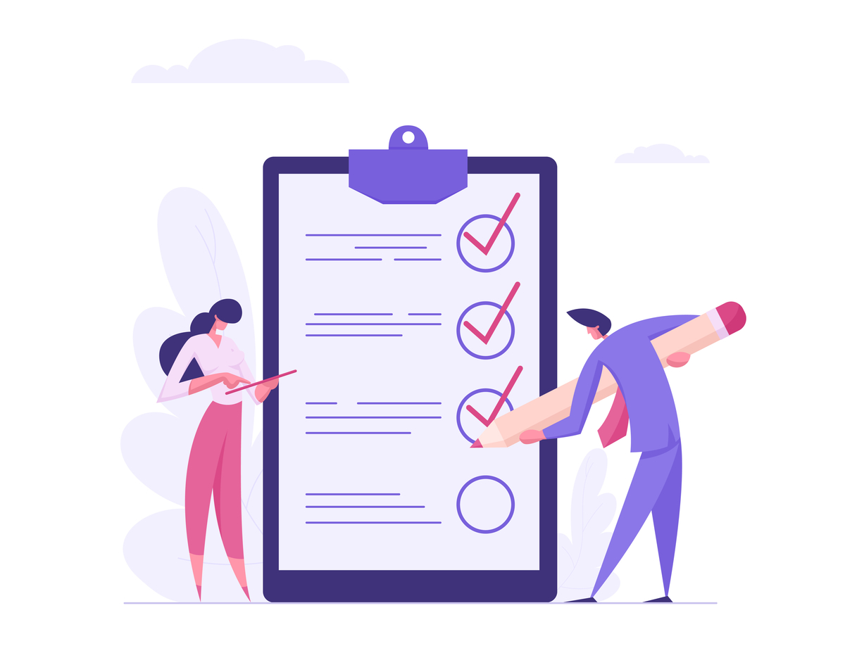 Illustration of two people checking off points on a check list.