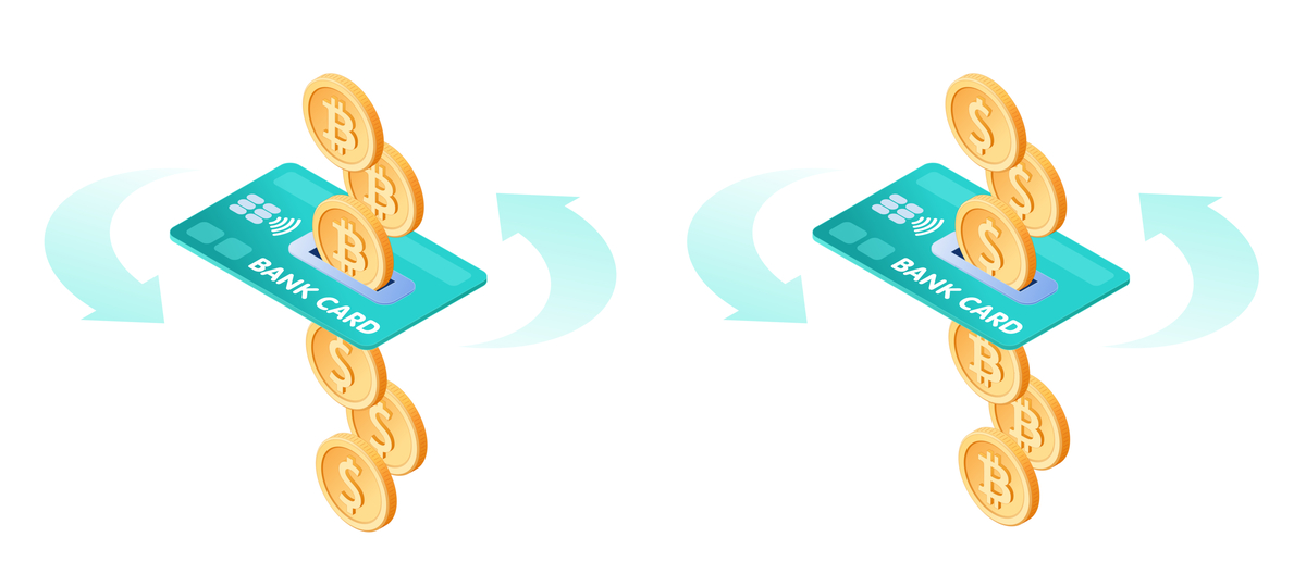Illustration of two credit cards and some coins.