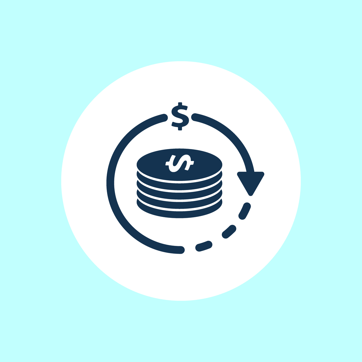 Illustration of a pile of coins with an arrow going around them.
