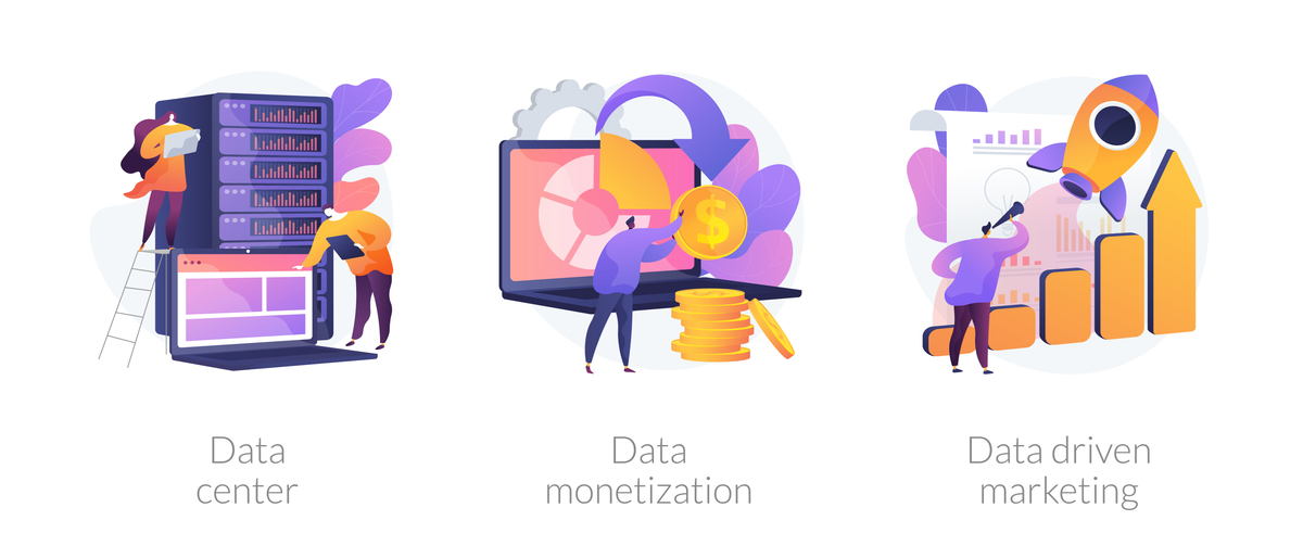 Three ilustration of data collection and monetization.