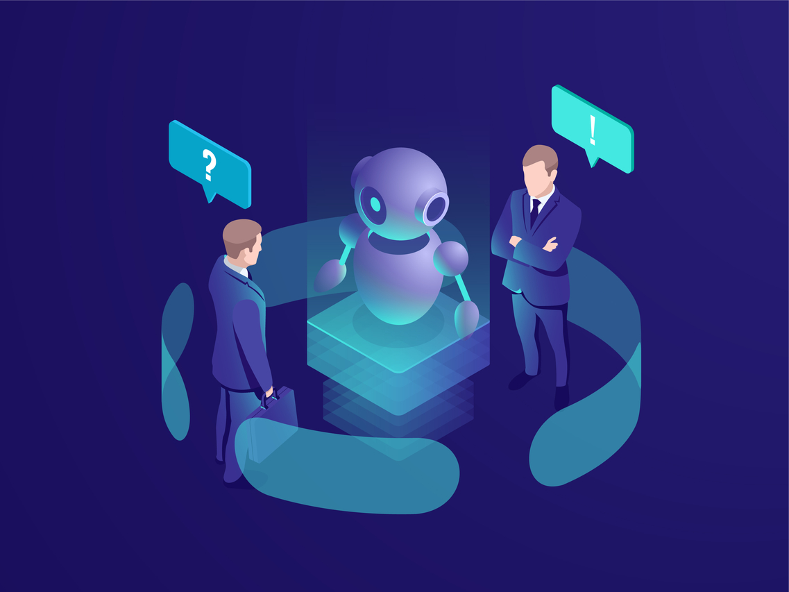 Illustration of two men analyzing a robot.