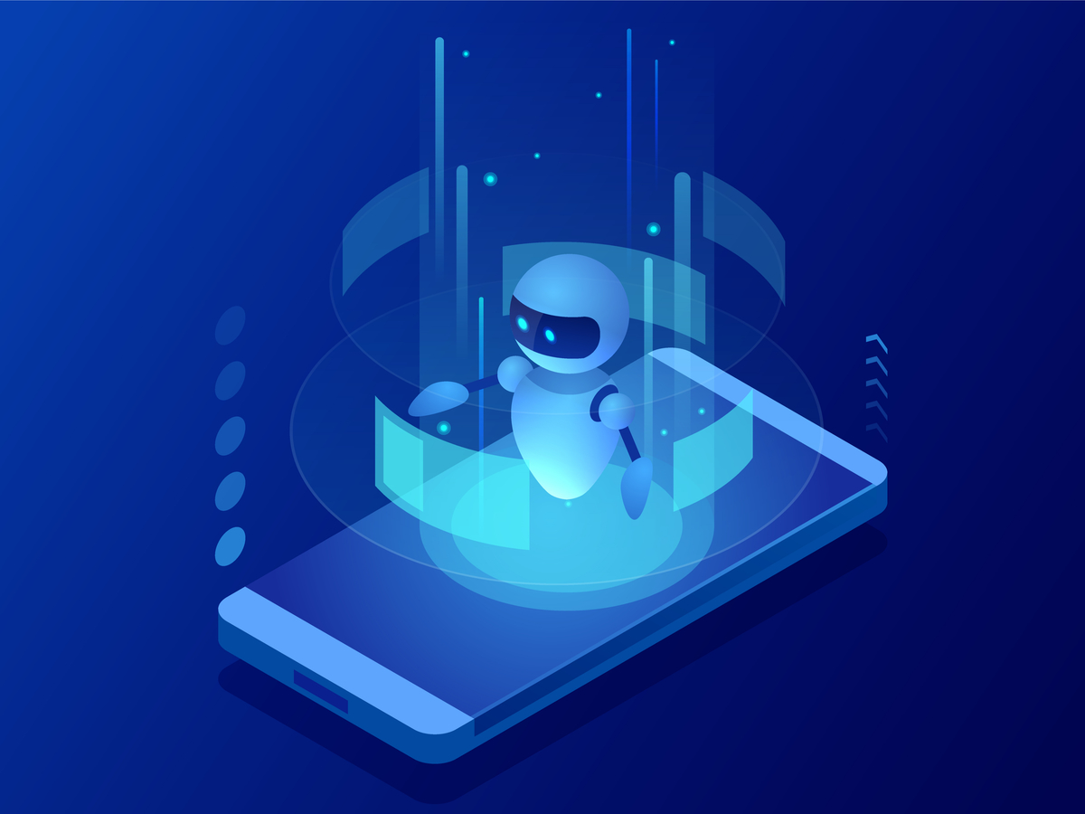 Illustration of a small robot standing on a cellphone.