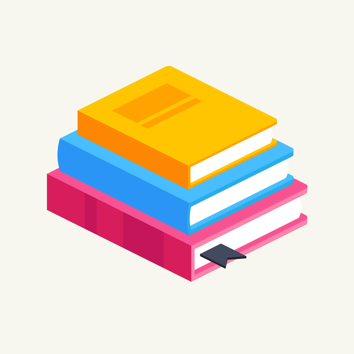 Illustration of a stack of books.