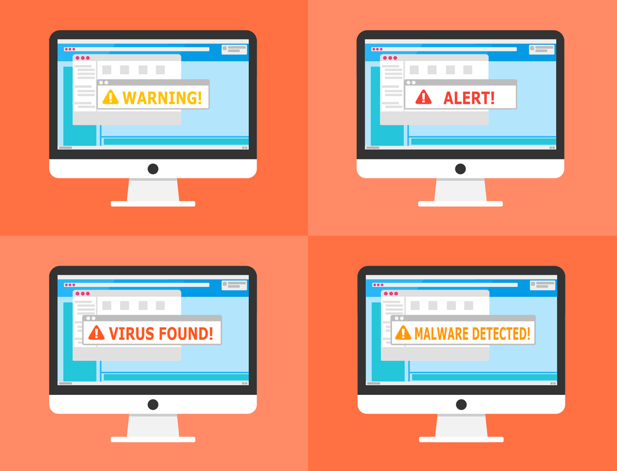 Illustration of four computer monitors showing different warnings.