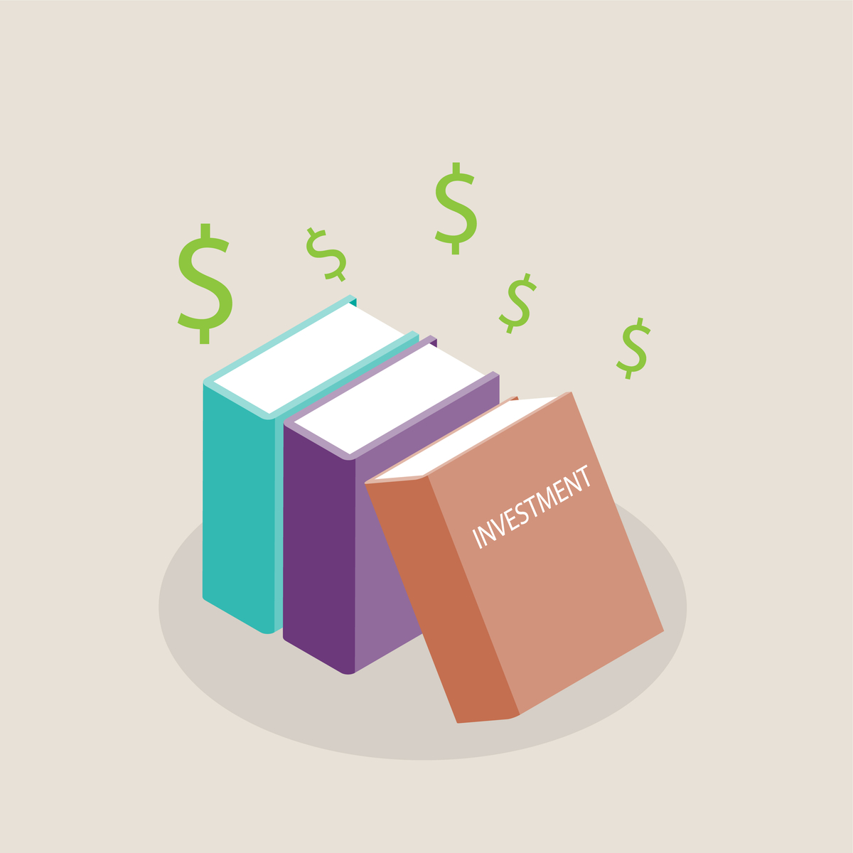 Illustration of books. One of them is titled Investment.