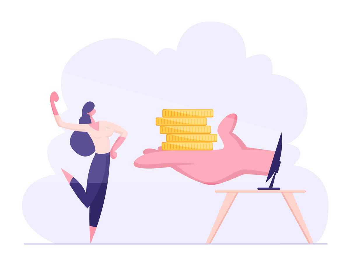 Illustration of a woman receiving a pile of coins from a computer screen.