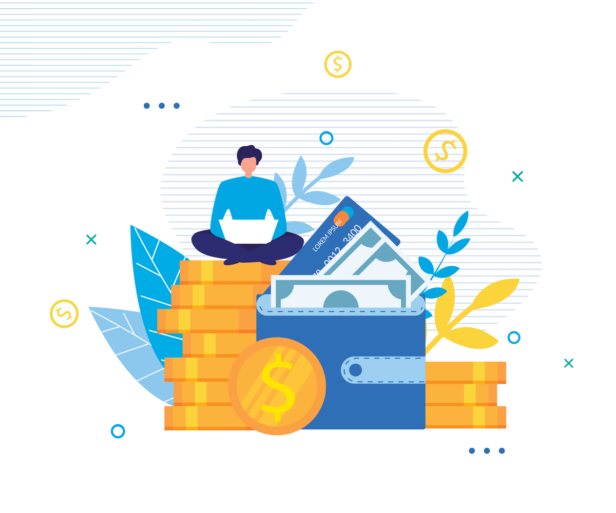 Illustration of a man sitting on a pile of coins.