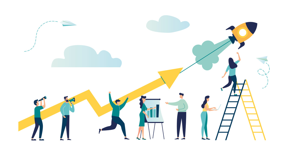 Illustration of people lifting up a graph arrow.