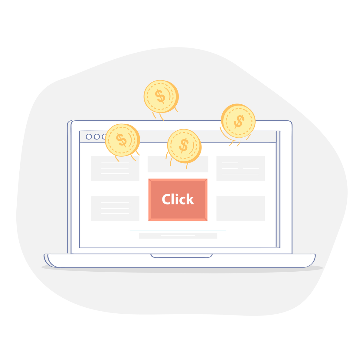 Illustration of a computer screen with some coins and a ''CLICK'' button.