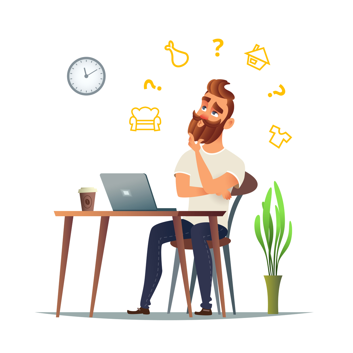Illuustration of a man sitting in front of a laptop and wondering.
